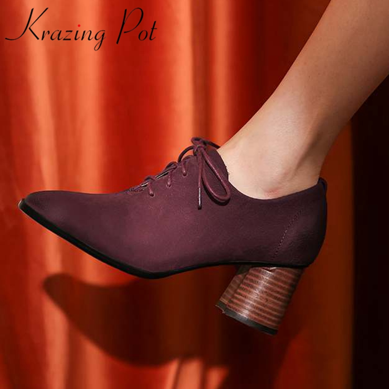 Krazing Pot comfortable cow leather retro women pumps round toe mature office lady dress lace up high heel work spring shoes L82
