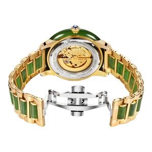 Image 3 - GEZFEEL luxus marke damen mechanische uhr jade strap Frauen uhren mode wasserdichte armbanduhr Reloj mujer + caja de madera