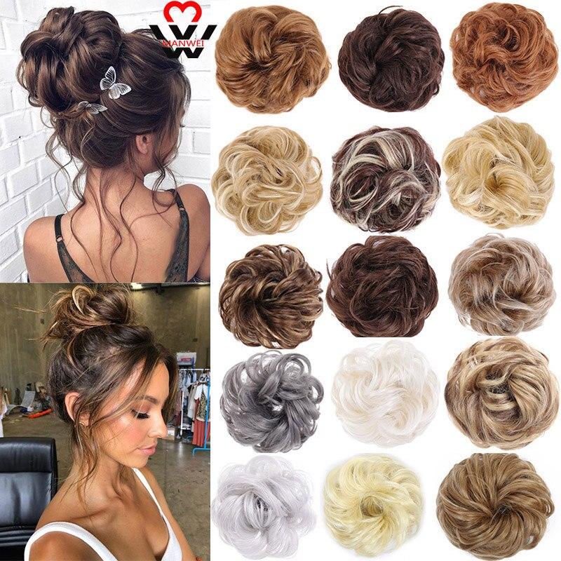 MANWEI эластичные удлинители волос лента конский хвост пряди Updo шиньоны Пончик Пучок для невесты Женские синтетические волосы шиньоны