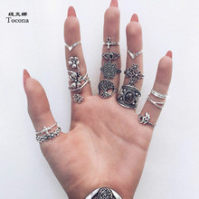 Tocona 14pcs/Set Vintage Antique Silver Color Ring for Women Rose Sunflowers Cross Geometric Bohemia Jewelry 4кольцо 6391