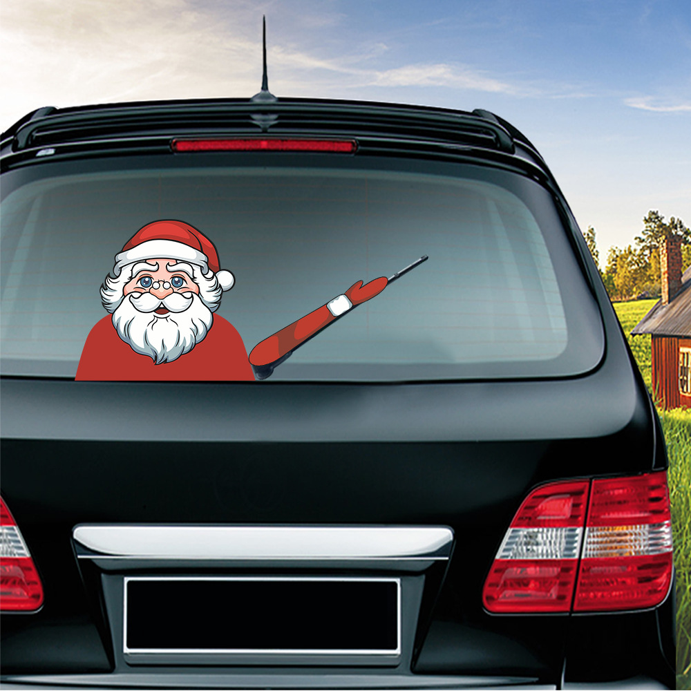 Car Stickers Christmas Decoration Santa Claus 3D PVC Waving Car Stickers Styling Window Wiper Decals Rear Windshield Decoration (5)