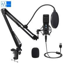 Micrófono de grabación de condensador USB para portátil, para grabación de estudio, MAC, con brazo de tijera ajustable