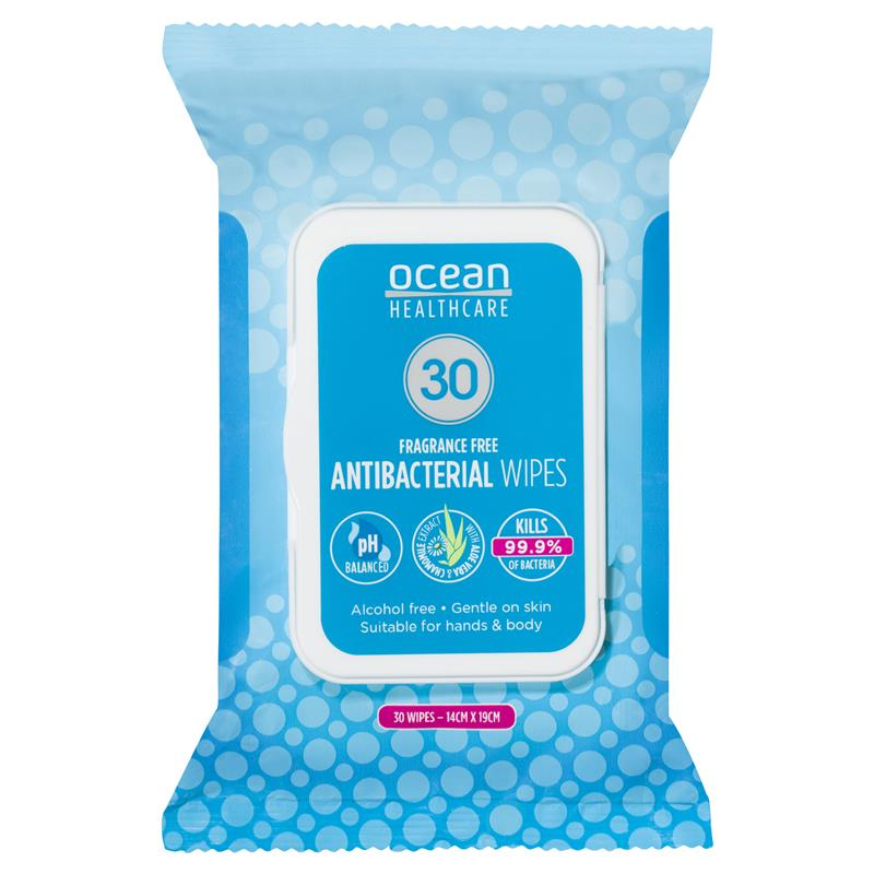 Australia Ocean Antibacterial 30 Wipes Hand Body Sanitiser Alcohol Free PH Balanced For Children Kill 99.9% Of Bacteria