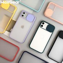 Ochrona aparatu odporny na wstrząsy futerał na telefon iPhone 11 Pro X XR XS Max 7 8 6 Plus jednolity kolor miękki TPU slajdów silikonowa tylna okładka tanie tanio MaxGear CN (pochodzenie) Fitted Phone Case Luxury Clear Candy Color Shockproof Matte Slide Cases iPhone6S 6 S SE2 Apple iphone ów