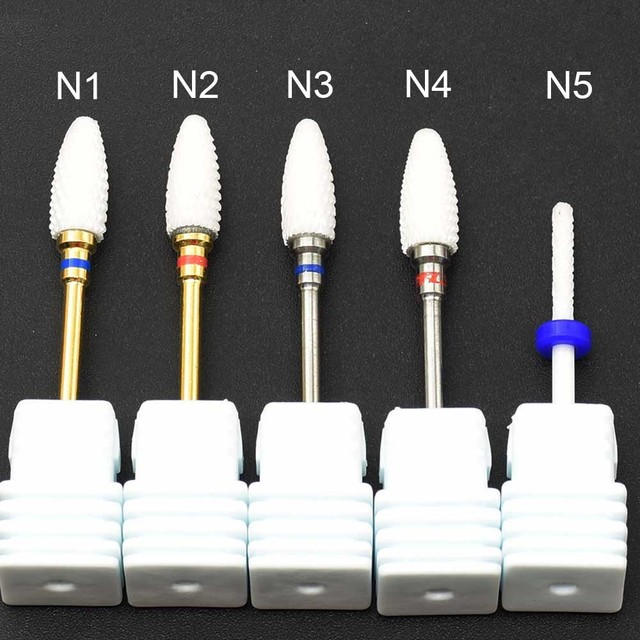 Electric Nail Drill Bit 1PC Ceramic Tungsten Carbide Polishing Grinding Head For Manicure Machine milling cutters Nail Art Tools 4