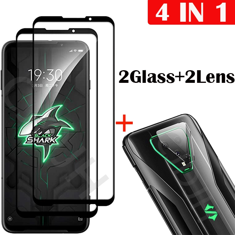 4-in-1 Camera + Tempered Glass For Xiaomi Black Shark 3 Screen Protector Glass On Xiaomi Black Shark 3 Pro protective Glass(China)