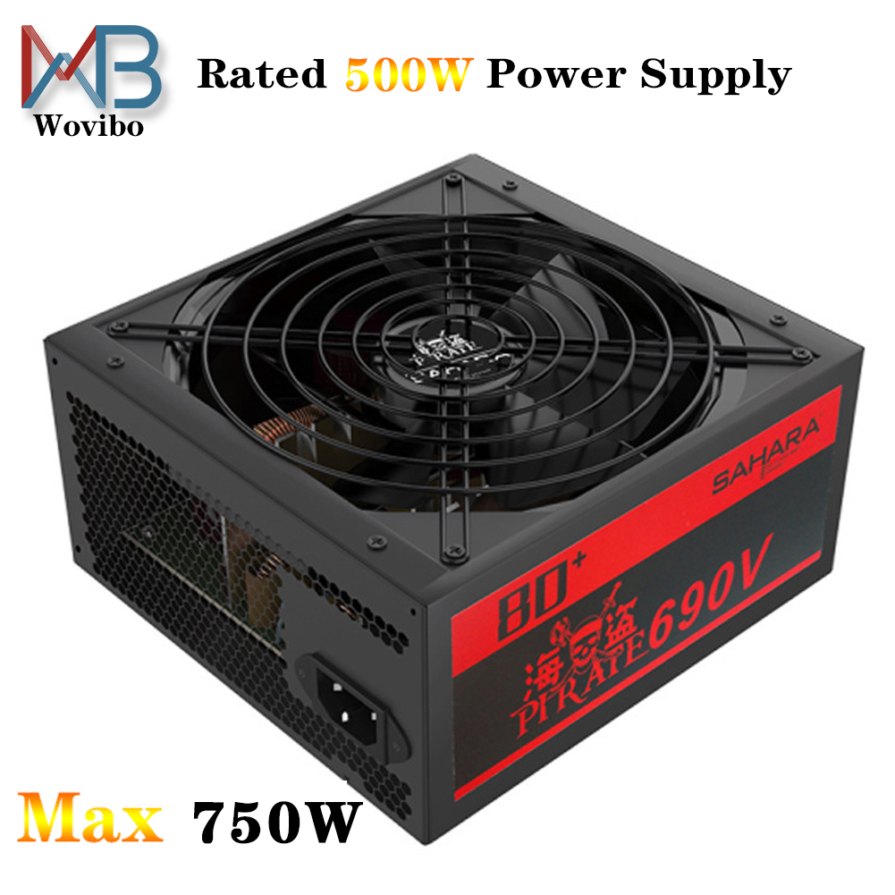 PC Power Supply PSU Max 750W Rated 500W For ATX Computer Case Gaming 120mm Fan 20/24PIN 12V desktop Power Supply BTC EU Plug