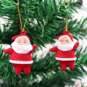 3pcs Christmas Santa Claus Snowman Reindeer Doll Home Xmas Pendants Doll Hanging Ornaments Navidad 2021 New Year Gifts