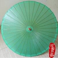 JPY Cosplay Green Parasols Women Japanese Paper Umbrellas Bamboo Handle Umbrella Decration Female Cosplay Props