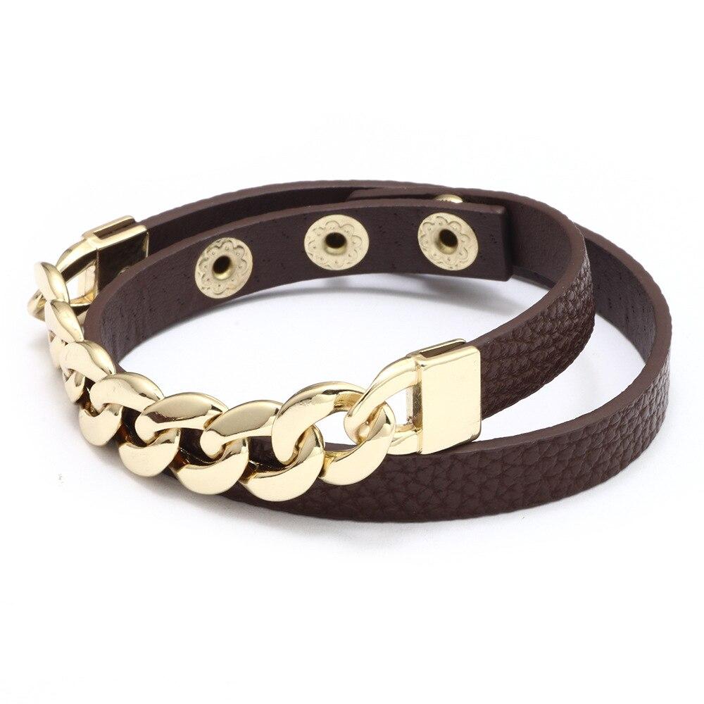 Kirykle breloque chaîne en or bracelet pour femmes mode Plaid bracelet en cuir Six couleurs réglable multi-couche bracelet fille cadeau 2