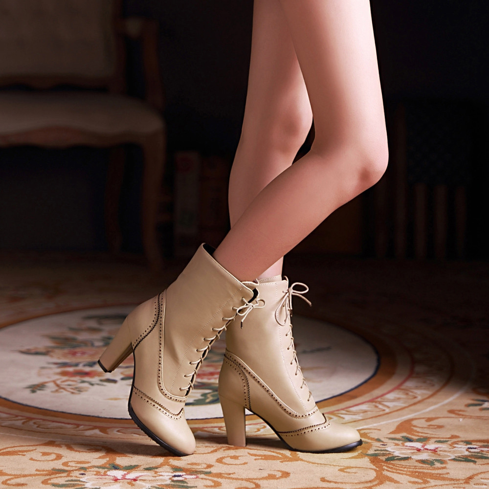 Image 4 - Women Boots Sexy Lace up Boots Ladies Classic Pointed Leather Lace Up High Heeled Boots Middle Tube Boots Square Heel ShoesAnkle Boots   -