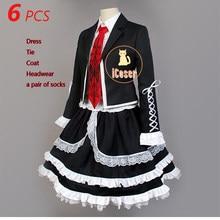 6 pçs danganronpa celestia ludenberg cosplay traje celeste dangan ronpa gatilho feliz caos vestido preto para roupa feminina