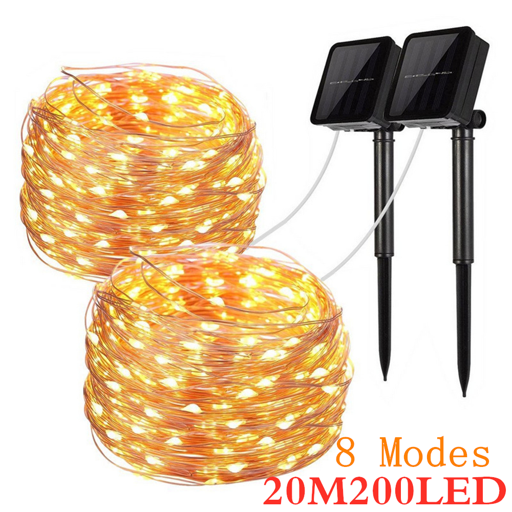8 Modes Solar Powered LED String Lights 200 LED Xmas Copper Wire Starry Fairy Lights Waterproof Outdoor Decorative Lighting