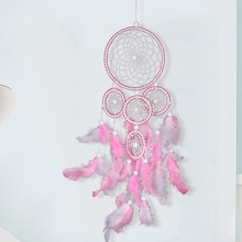 1pc Round Dream Catcher Brown Red Wall Hanging With Feather Bead Ornament Decoration  Car