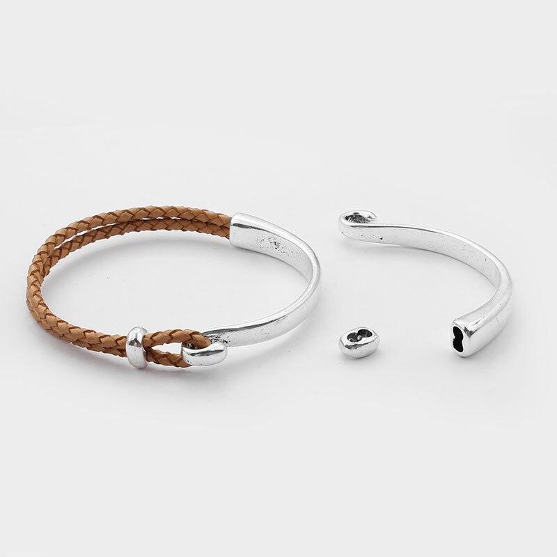 5pcs Fashion Jewelry Antique Silver 3MM 2 Hole Half A Bracelet Clasps For Bracelets & Bangles Jewelry Making