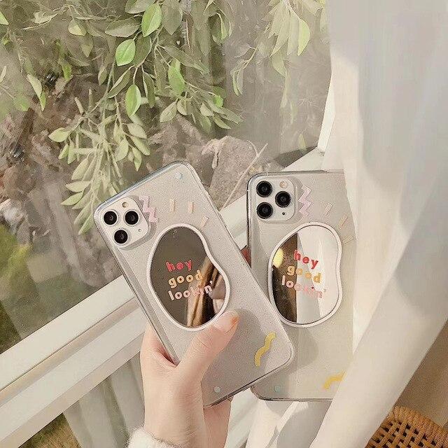 INS/корейский милый забавный чехол для телефона с граффити, зеркалом, волнистыми точками для iPhone 11 pro MAX Xs MAX Xr X 7 8 plus, мягкая задняя крышка из ТПУ