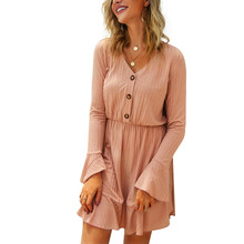 цена на Fashion Autumn Dress Women 2019 Winter Clothing New Solid Knitted Long Butterfly Sleeve A Line Dress V Neck A Line Sexy Dresses