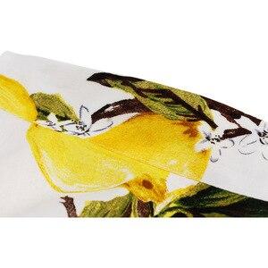 Image 5 - Feminino limão impresso saias curtas amarelo limão impresso cintura alta 50s 60s swing rockabilly a line midi saia de verão casual 2020