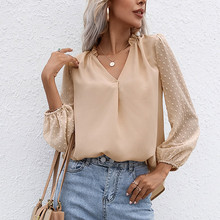 Summer Patchwork Puff Long Sleeve Women Blouse Sexy V-neck White Loose Female Blouses 2021 Autumn Fashion Elegant New Lady Tops