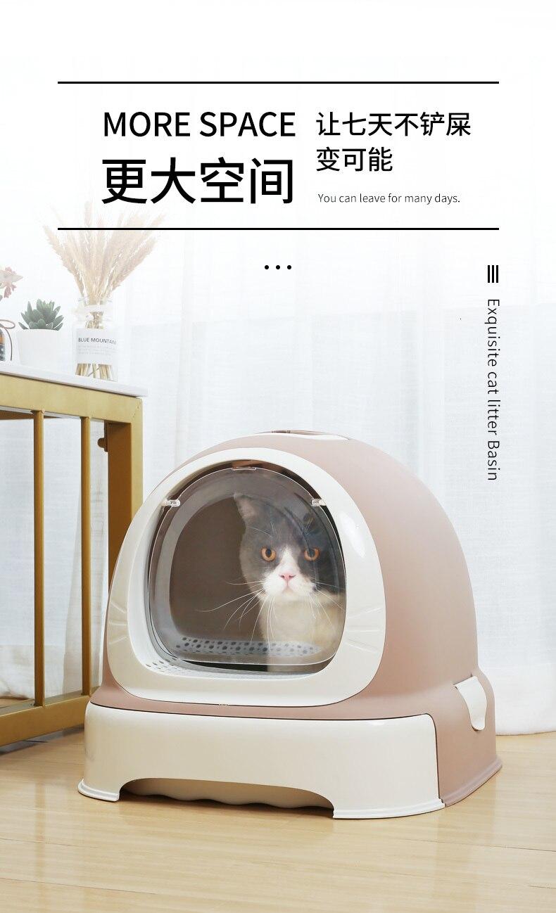 Totalmente fechado desodorizando excrementos de gato bacia gato toalete maca anti respingo suprimentos de gato kuwety dla kota katzentoilette barato - 4