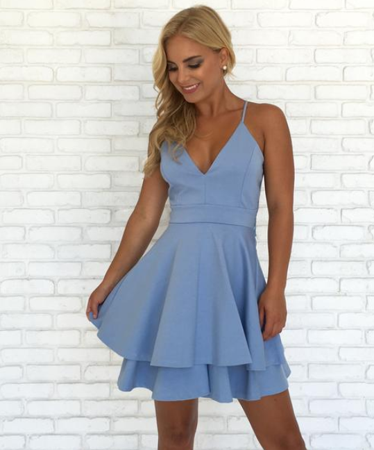 Sexy Spaghetti Straps Short Dress Women Lace Back Two Layers Skirt Homecoming Party Dresses