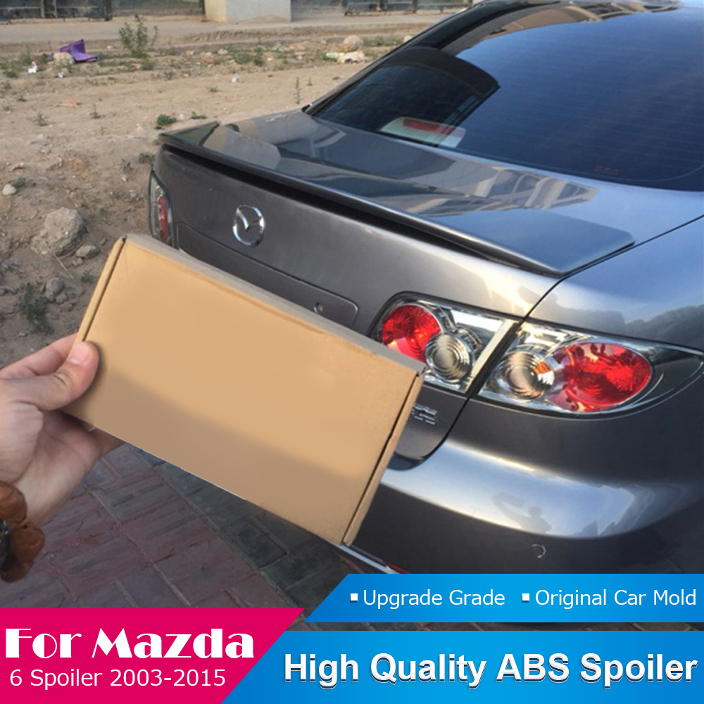 AITWATT For <font><b>Mazda</b></font> <font><b>6</b></font> White <font><b>Spoiler</b></font> 2003 to 2015 High Quality ABS Plastic Rear Roof Tail Wing Black <font><b>Spoiler</b></font> Car Styling image