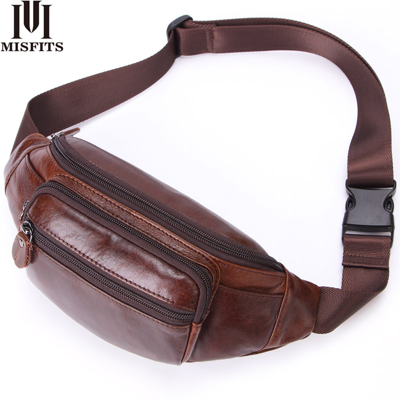 MISFITS Genuine Leather Waist Packs Men's Belt Bag Casual Fanny Pack Top Quality Waist Bag For Cell Phone Travel Male Chest Bags