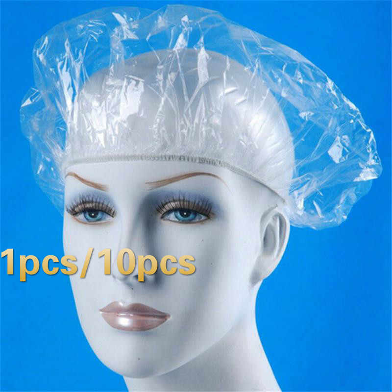 SUEF 1 / 10pcs Disposable Hat Hotel One-Off Elastic Shower Bathing Cap Clear Hair Salon Bathroom Products@2