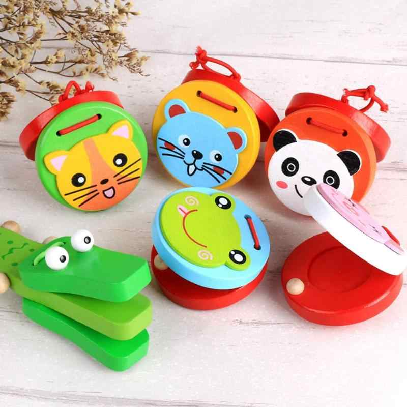 Kids Cartoon Castanets Toys Baby Wooden Castanet Clapper Handle Musical Instrument Toy Preschool Early Educational music Toys