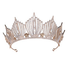 Princess Crown Wedding Bridal Mermaid King Queen Baroque Gold Crystal Crown Headband Birthday Women Hair Jewelry Tiara for Girls(China)