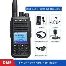 Rádio digital walkie talkie dmr de banda dupla, rt3s, gps, dcdm, tdma, ham, estação de gravação, transmissor + acessórios