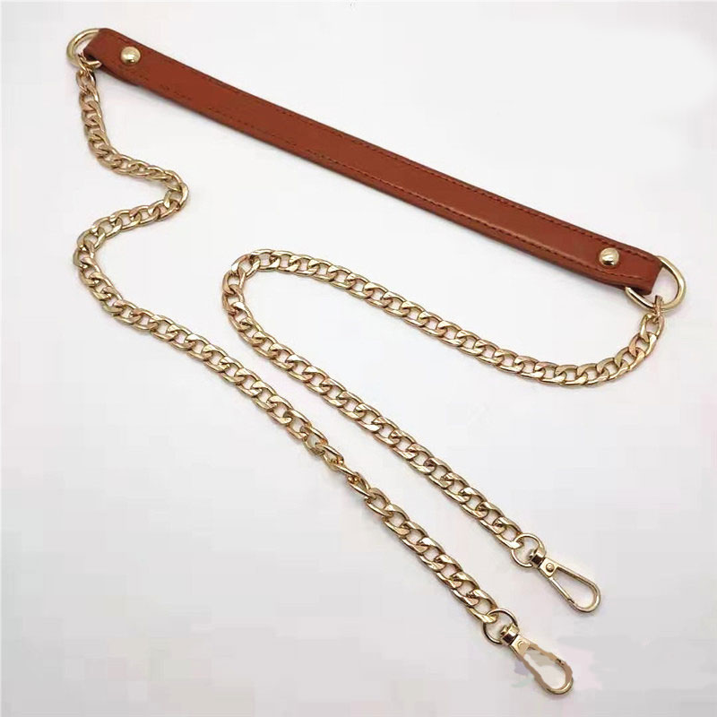 New 120cm PU Metal Chain Shoulder Bag Belts Buckle Handle DIY Belt Bag Strap Accessories Pink Brown Replacement Leather Bag Belt
