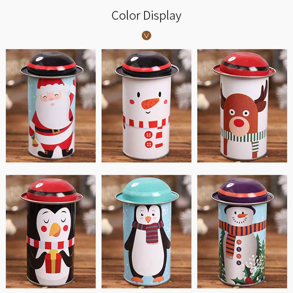 Christmas Candy Tin Box Creative Round Shape Tinplate New Year Party Christmas Candy Box Caramel Fudge Gift Tin cookie bag