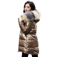 Manteau d'hiver veste 2019 hiver nouveau-30 degrés chaud femmes Parker manteau mince à capuche col de fourrure imperméable épais chaud hiver manteau