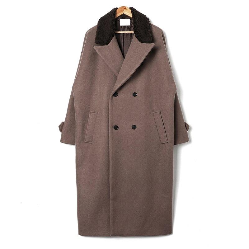 2019 invierno nuevo japonés Retro cuello costura felpa golpe grueso abrigo de lana moda Casual Camisa de Color sólido negro/marrón - 5