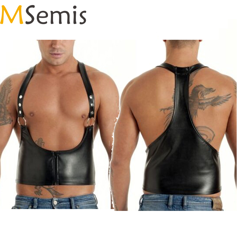Mens Harness Lingerie Faux Leather Harness Men Bondage Gay Harness Body Chest Harness Bondage Costume With O-rings Pole Dance