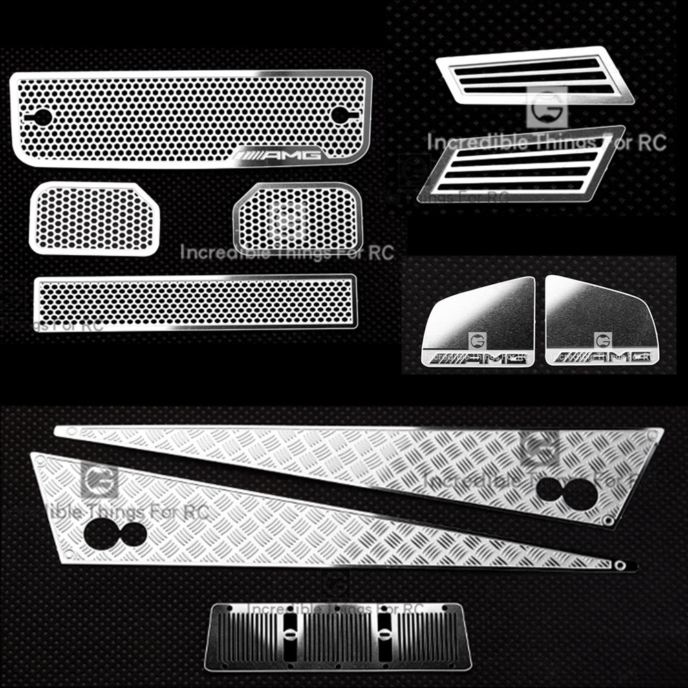 Metal Anti-skid Intake Grille Rearview Mirror  For 1/10 Rc  Crawler Car Traxxas TRX4 G500 TRX6 G63