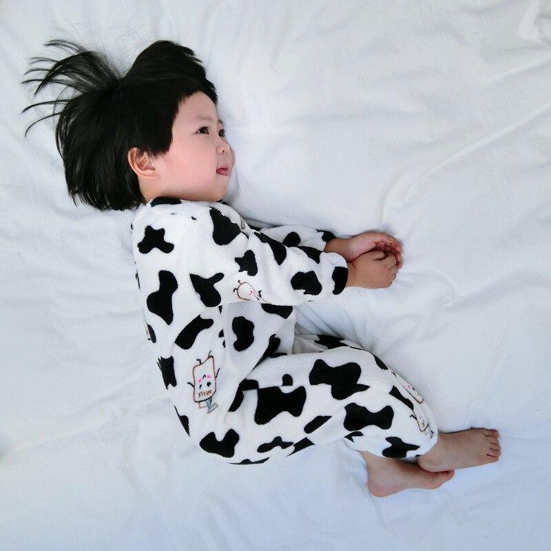 Baby Home Wear 2018 Winter New Style Plus Velvet Onesie Children Flannel Pajamas Men And Women Children Thick Sleeping Bag