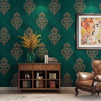 European Style 3D Embossed Wallpaper Luxury Damascus Dark Green Non-woven Wall Paper Bedroom Living Room TV Background Wall Home 3d embossed non woven wallpaper european style damascus wall coverings bedroom living room damask background wall paper rolls