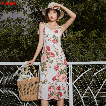 Floral Print Long Women Sundress Summer Elegant White Slim Boho Party Vacation Dress Runway Korean Vintage Tropical Beach