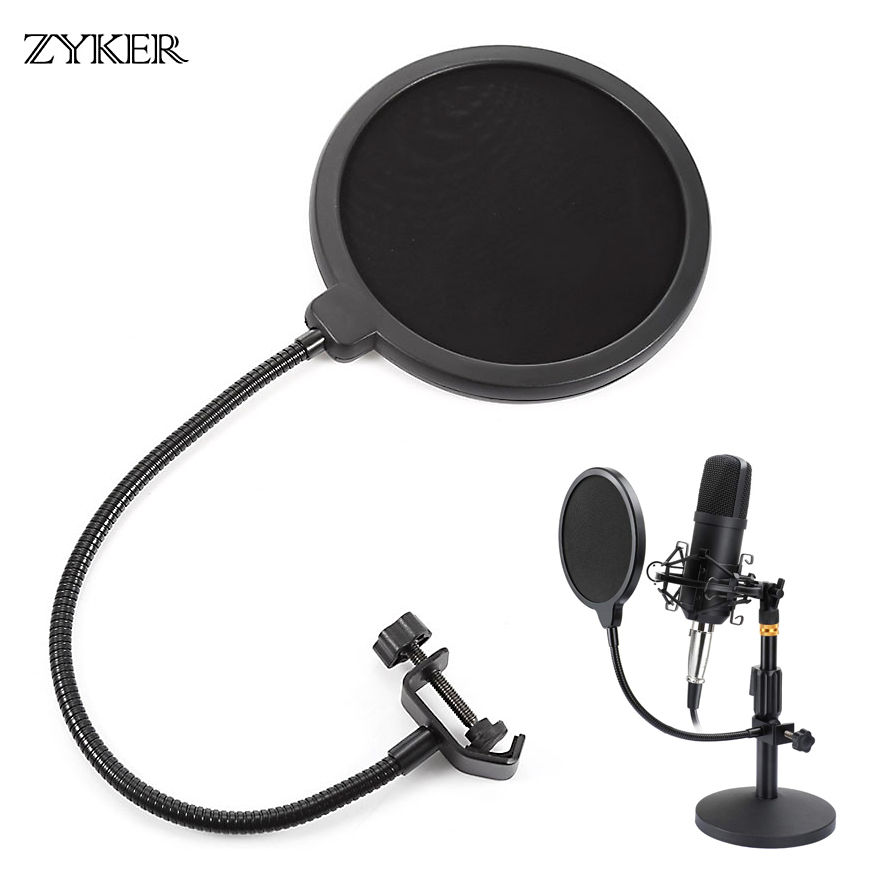 Professional Microphone Pop Filter Bilayer Recording Durable Double Layer Studio Clamp Microphone Windscreen Accessories