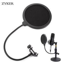 Profissional microfone pop filtro bilayer gravação durável dupla camada estúdio braçadeira microfone pára-brisas acessórios