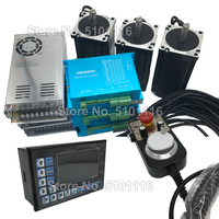 XYZ Axis12Nm Nema34 86MM Easy Servo Closed Loop Stepper Motor +Driver + Power Supply +3 Axis Controller G PLC + MPG Kit for CNC