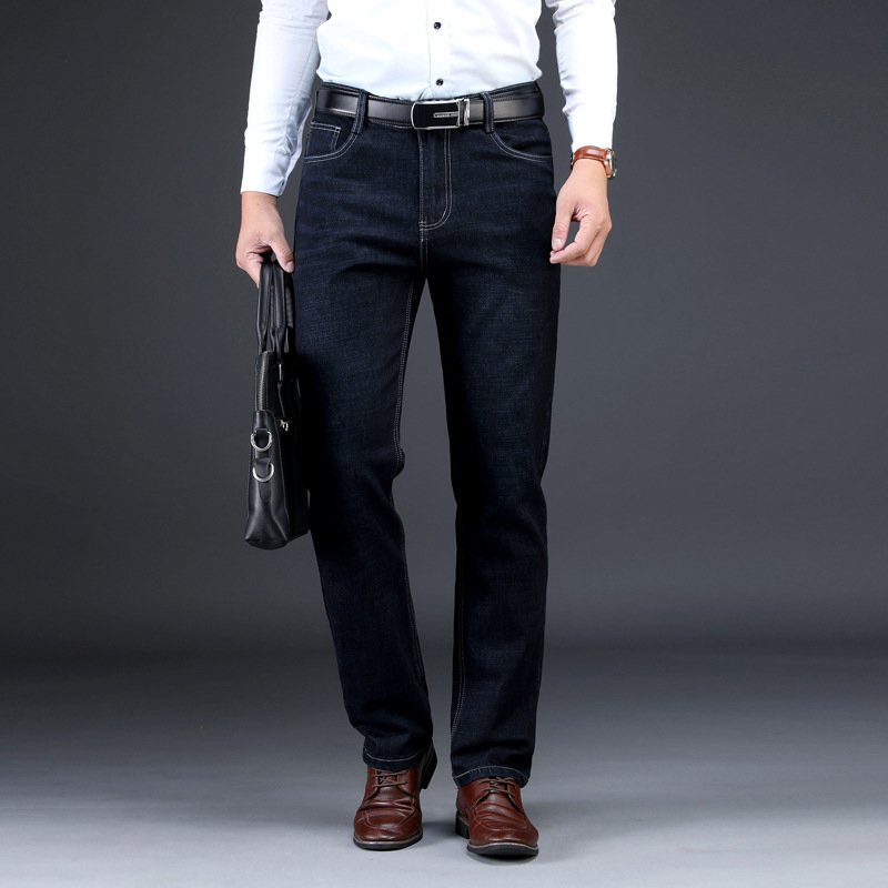 Men 39 s New Jeans Elastic Straight Trousers Loose Business Men 39 s Large Trousers Slim Fit Straight Distressed Denim Jeans in Jeans from Men 39 s Clothing