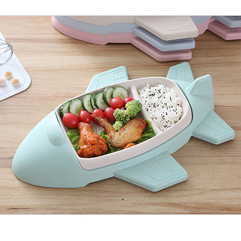 Cartoon Aircraft Shape Tableware Bamboo Fiber Plate Infant Tableware Toddle Children's Dividers Plate Child Gift Kids Cutlery