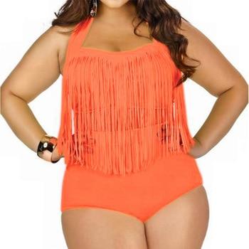 HOT Sale Plus Size Split Swimsuit Women Sexy Retro Padded Push Up Tassel High Waist Swimsuit Female biqiuni Bathing Suit 8