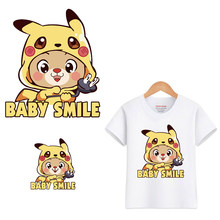 Ijzer Op Dieren Patches Voor Kinderkleding Diy T-shirt Applique Warmteoverdracht Vinyl Cartoon Pikachu Patch Stickers Thermische Druk(China)