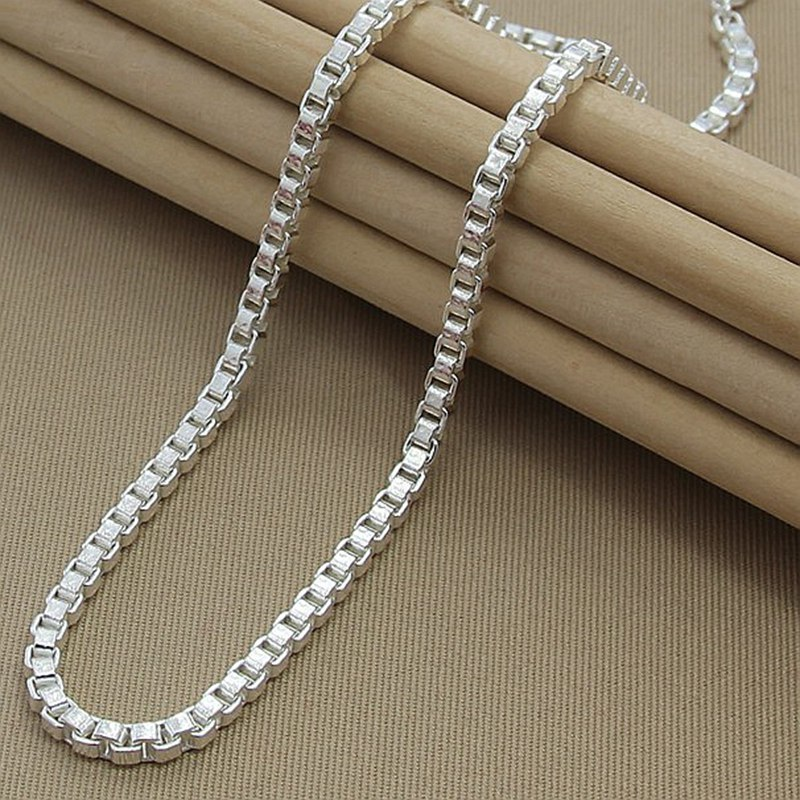 2020 Hot Selling Box Chain Necklace Fine Jewelry 925 Silver 4MM Width Chain Link Necklaces For Women Men Best Jewelry Gift