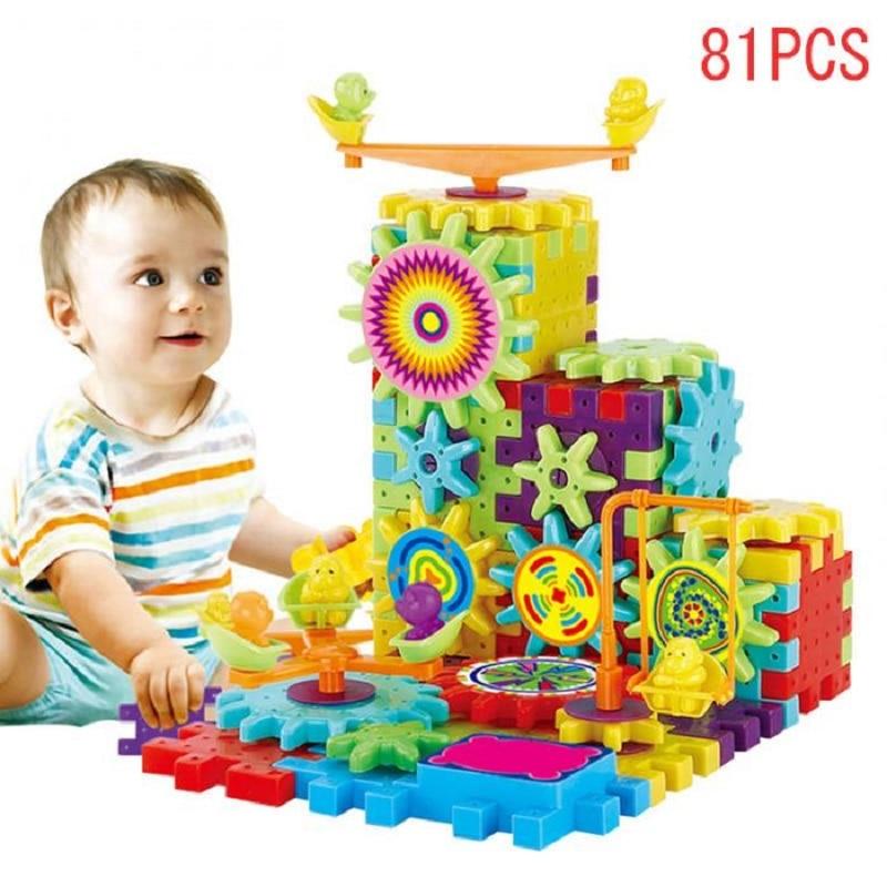 81 pièces En Plastique Blocs 3D Puzzle Kits de Construction Jouets Pour Enfants Apprenant L'éducation Engrenages Électriques Jouets Pour Enfants Cadeau De Noël