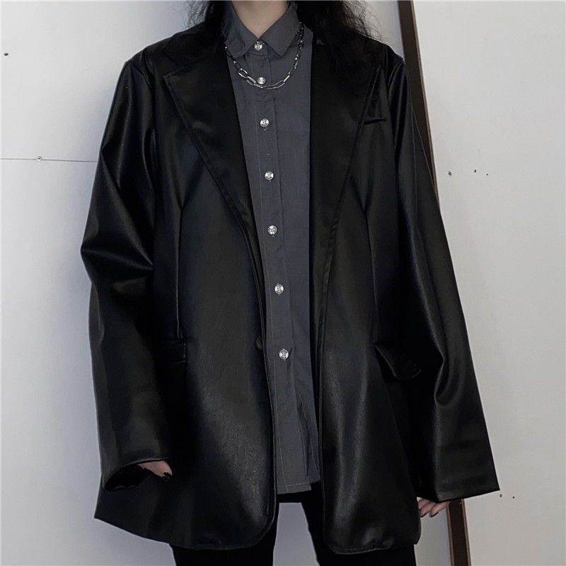 2020 Black Faux Leather Suit Jacket Ladies Blazer Single Breasted Coat Korean Women Outwear